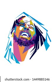 Madiun, Indonesia-july 14 2019: Illustration Dave Grohl in wpap pop art portrait. Musician of the rock band Nirvana.