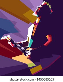 madiun, indonesia-july 14 2019: Musician with a guitar. Rock guitarist guitar player abstract vector illustration. Vocalist of the rock band Metalica. James Hetfield.