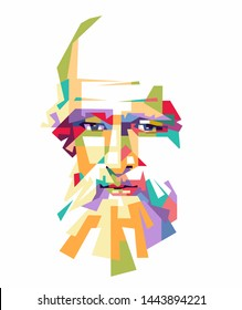 Madiun, indonesia-july 7 2019: illustration archimedes in wpap pop art portrait. Eps 10