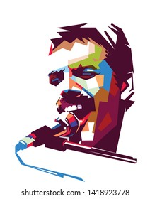 madiun, indonesia-june 08 2019: Illustration of freddie Mercury  on vector color pop art with white background. Vocalist of the rock band Queen.