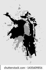 madiun, indonesia-june 27 2019: illustration Michael Jackson on stage on line art with ink spots