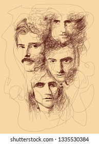 madiun, indonesia-march 11 2019 : line sketch of queen. Freddie Mercury, Brian May, John Deacon, and Roger Taylor. Bohemian Rhapsody.