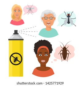 Madly frightened eldery and young woman faces and mosquito and fly. Black girl afraid of a cockroach. Aerosol spray. Arachnophobia panic attack. Colorful flat style cartoon vector illustration