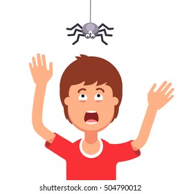 Madly frightened man. Boy afraid of a spider hanging from the top. Arachnophobia panic attack. Halloween prank concept. Colorful flat style cartoon vector illustration.