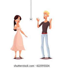 Madly frightened man and woman vector cartoon comic illustration isolate, boy and girl afraid of a spider, arachnophobia, people are very afraid of spider and panic, manifestation of the phobia
