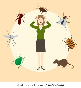 Madly frightened woman. Girl afraid of pests. Cockroach, mouse, rat, mosquito, fly, bugs in a circled infographics. Arachnophobia panic attack. Colorful flat style cartoon vector illustration.