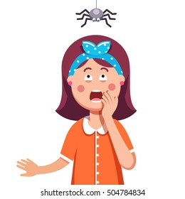 Madly frightened woman. Girl afraid of a spider hanging from the top. Arachnophobia panic attack. Colorful flat style cartoon vector illustration.