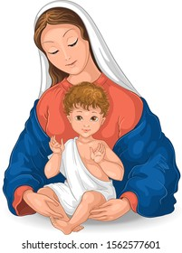 Madonna and Child. Blessed Virgin Mary with Baby Jesus vector cartoon illustration isolated on white background. Also available coloring book version