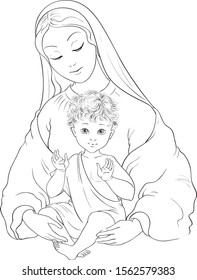 Madonna and Child. Blessed Virgin Mary with Baby Jesus coloring page. Also available colored version.