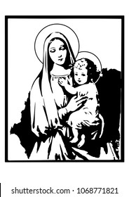 madonna and Child Jesus vector catholic virgin Mary