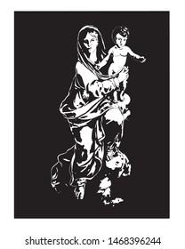 Madonna and Child Jesus Virgin Mary Catholic vector