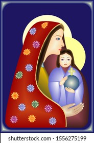 Madonna with Child-a stylized illustration, an icon of Our Lady with the Infant Jesus, wearing a red mantle with flowers