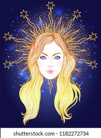 Madonna, Lady of Sorrow. Devotion to the Immaculate Heart of Blessed Virgin Mary, Queen of Heaven. Vector illustration isolated.