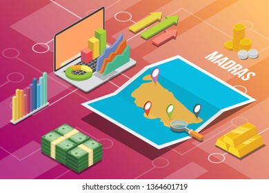 madras or chennai india city isometric financial economy condition concept for describe cities growth expand - vector illustration
