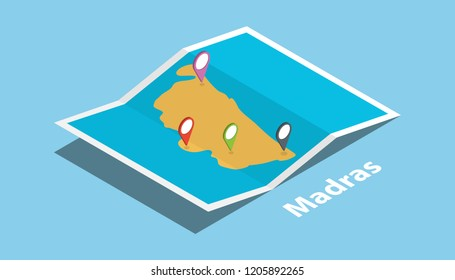 madras or chennai india explore maps with isometric style and pin location tag on top vector illustration