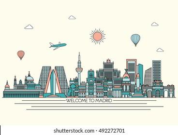 Madrid City detailed skyline. Travel and tourism background. Vector background. line illustration. Line art style