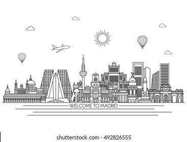 Madrid City detailed skyline. Travel and tourism background. Vector background. line illustration. Line art style