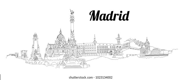 MADRID city hand drawing panoramic sketch illustration