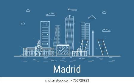 Madrid city, Line Art Vector illustration with all famous buildings. Linear Banner with Showplace. Composition of Modern buildings, Cityscape. Madrid buildings set