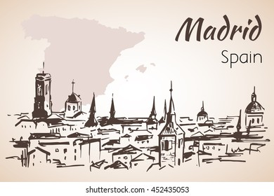 Madrid cityscape with map. Isolated on white background