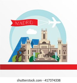 Madrid detailed silhouette. Trendy vector illustration, flat style. Stylish colorful  landmarks. Cybele Palace, The Statue of the Bear and the Strawberry Tree the symbol of Madrid, Spain