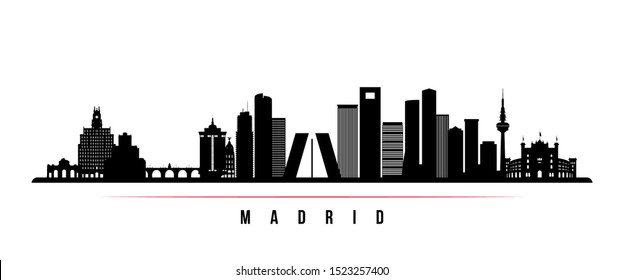 Madrid skyline horizontal banner. Black and white silhouette of Madrid, Spain . Vector template for your design.