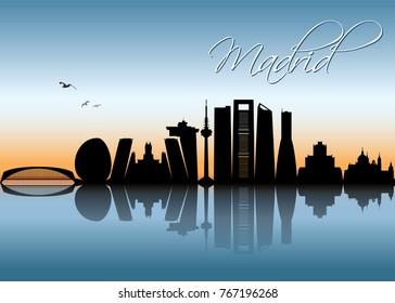 Madrid skyline - Spain - vector illustration