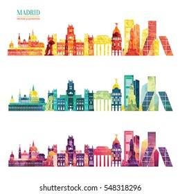 Madrid skyline. Travel and tourism background. Vector illustration