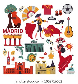 Madrid. Spain. Set of vector icons on isolated background. Bullfighting, flamenco, paella, guitar, football. Flat design