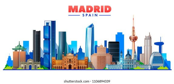 Madrid ( Spain ) skyline with panorama in white background. Vector Illustration. Business travel and tourism concept with modern buildings. Image for presentation, banner, web site.