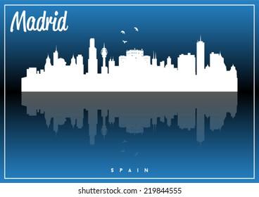 Madrid, Spain skyline silhouette vector design on parliament blue background.