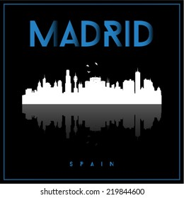 Madrid, Spain skyline silhouette vector design on black background.
