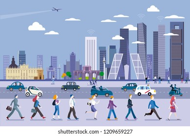 Madrid street with people walking and the Skyline at the background with the tallest four towers. Flat vector illustration.