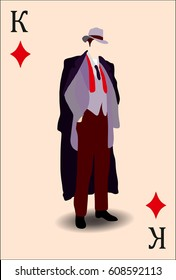 Mafia boss.Boss of a mafia clan.Character, Game card, Retro style
