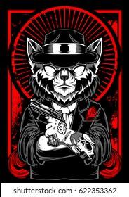 Mafia Cat Vector Hat Gun