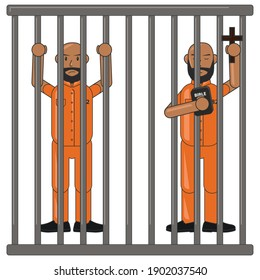 mafia character criminal police cop crime jail prisoner killer prison illustration cell law justice religion arrest security lock person vector hand room cage room cartoon
