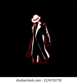 Mafia with fedora hat and gun esport logo mascot