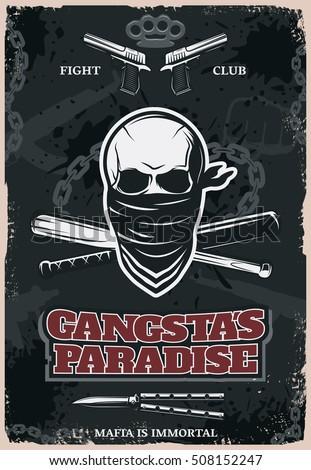 Mafia Gangster Fight Club Poster Drawn Stock Vektorgrafik