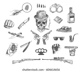 Mafia and gangster set. Hand Drawn Elements. Engraving Style. Vector Illustration. Detective, crime, underworld. Guns, skull, attributes of the gangster world