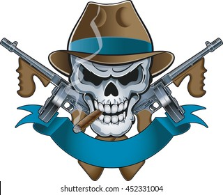 mafia gangster skull with machine guns