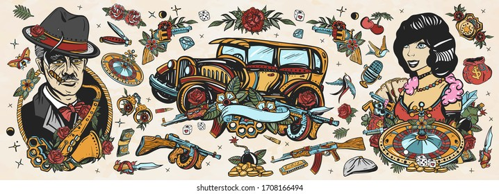 Mafia. Gangsters. Old school tattoo collection. Crime boss plays saxophone, retro car, robbers, bandits weapons, croupier pin up girl, casino. Noir criminal movie art. Traditional tattooing style