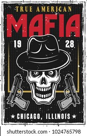 Mafia and gangsters poster with bandit skull in hat and two guns on dark background. Vector illustration with grunge textures and text on separate layers