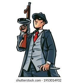 Mafia with a gun cartoon illustration