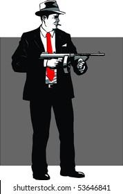 Mafia guy with gun