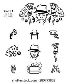 Mafia icon set. Gangster design