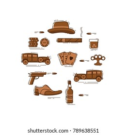 Mafia line art symbols in circle - hat, classic retro car, gangster shoes, shooting gun,  whiskey bottle, glass with scotch and cubes of ice, brass knuckles, casino chips, playing card, cigar. Vector.