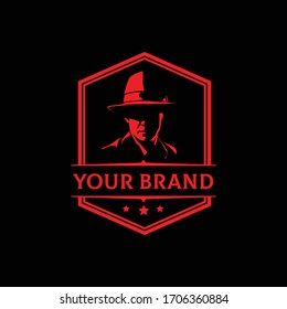 MAFIA LOGO emblems with character abstract silhouette men head in hat .  Vintage vector illustration