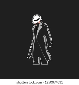 mafia logo mascot for esport team. man with fedora hat