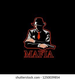 mafia logo mascot gaming. e-sport logo. pubg gaming logo mascot. man with fedora hat and pistol gun. boss of gangster illustration vector