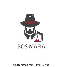 mafia logo vector illustration of man in hat